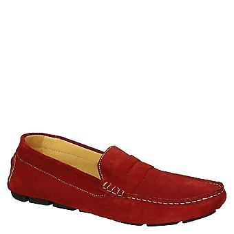 Rote Wildleder Mokassin Schuhe für Männer handgefertigt in Italien