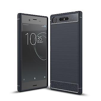 Sony Xperia XZ1 TPU tilfelle karbon fiberoptikk børstet beskyttende operasjon Blau