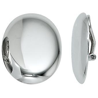 Klipp øredobber klipp 925 sterling sølv rhodium belagt ovale øredobber