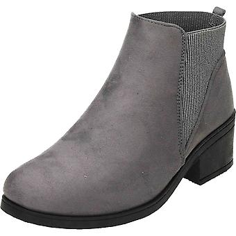 Krush Grey Chelsea Ankle Boots Suede Style Pull On