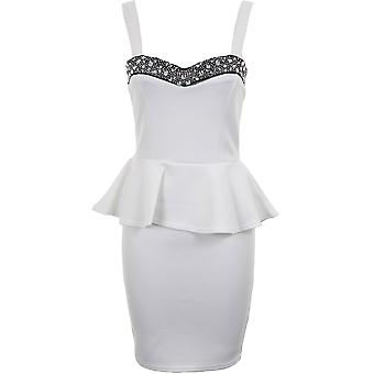 Dames riem Diamante Boobtube peplos franje kort Bodycon Women's jurk