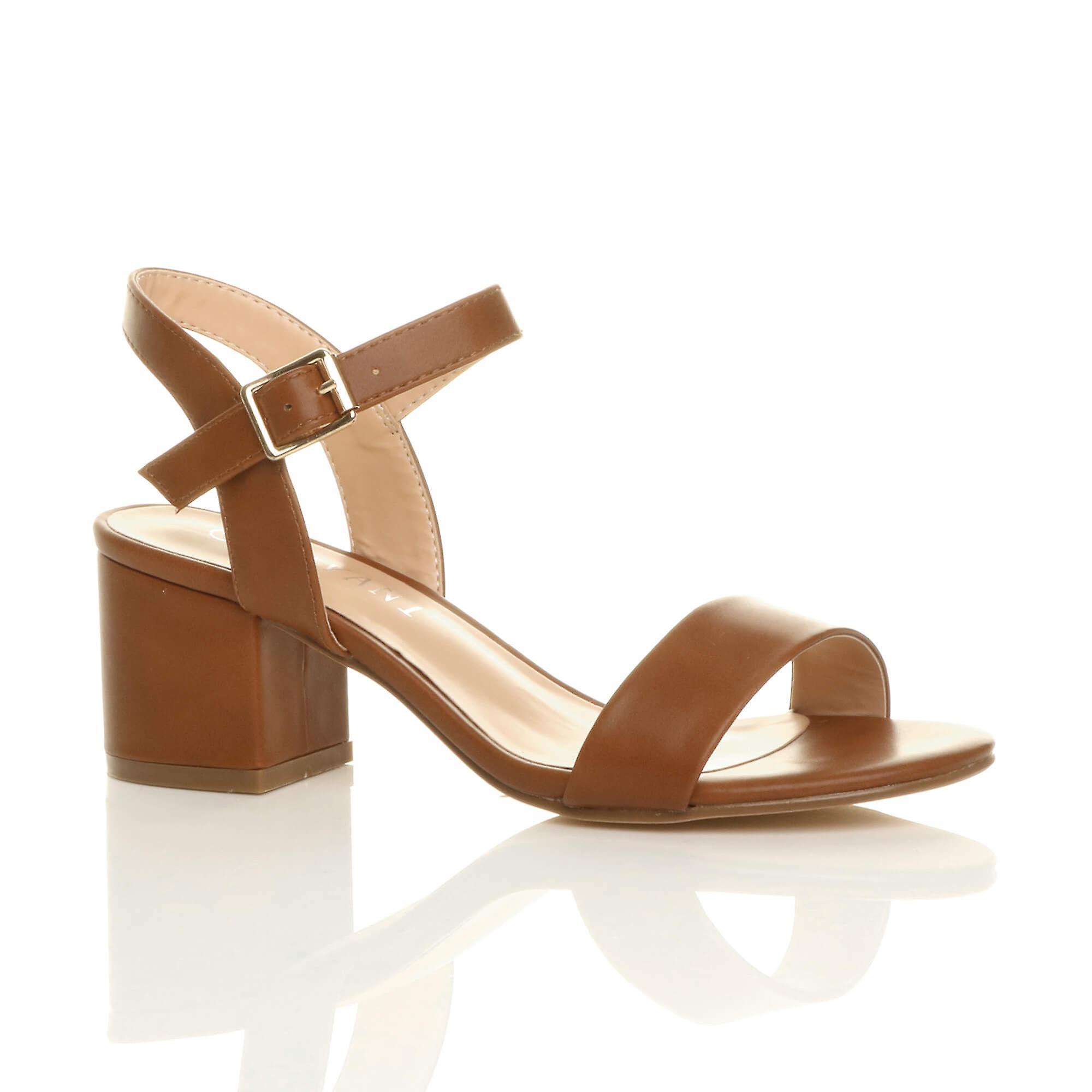 Ajvani womens mid low block heel peep toe ankle strap strappy party sandals EkZNj