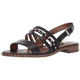 Negen West Women's Chaylen lederen platte sandaal