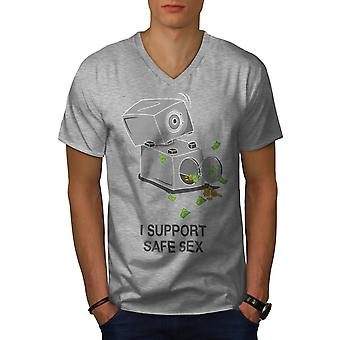 Support Safe Sex Funy Men GreyV-Neck T-shirt | Wellcoda