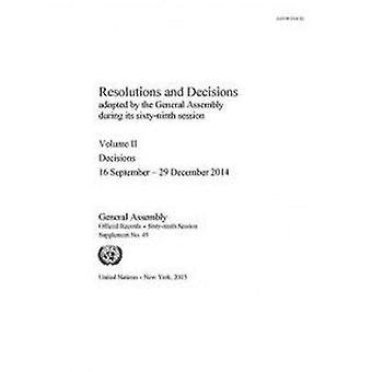 Resolutioner och beslut som fattas av den generalförsamling under dess
