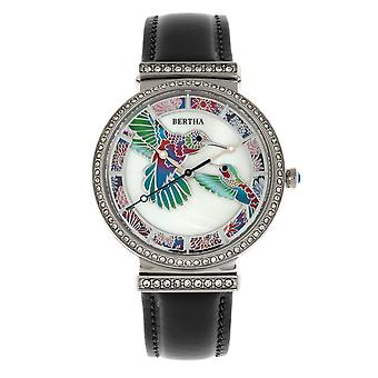 Bertha Emily Mother-Of-Pearl Leather-Band Watch - Silver/Black