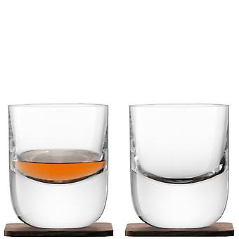 LSA International Whisky Renfrew Tumblers On Walnut Coasters - Set Of 2