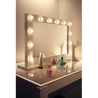 Diamond X Gloss White Hollywood MakeupAudio Spiegel mit LED-k313CWaud