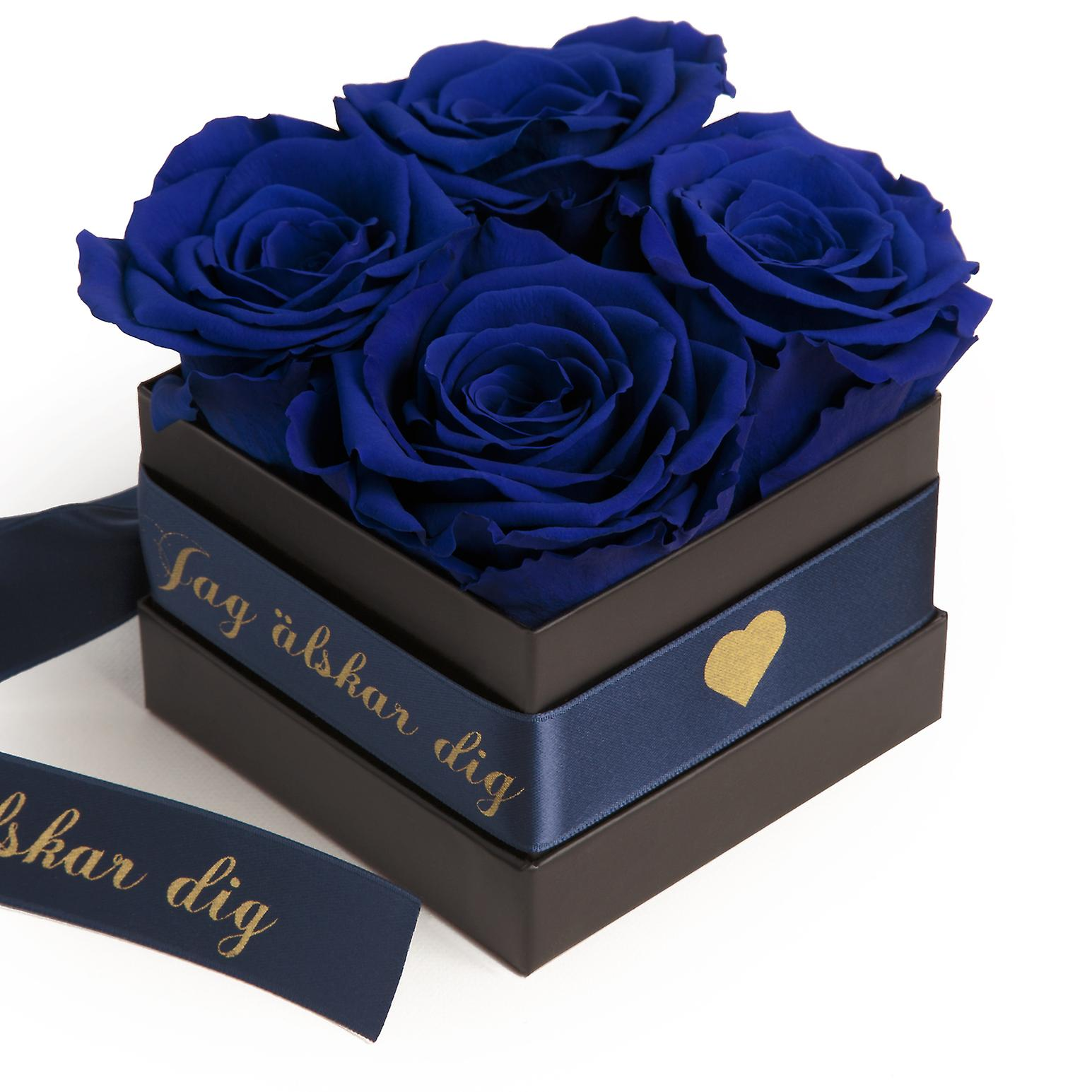 JAG älskar dig Flowerbox with 4 preserved roses blue and satin ribbon shelf life 3 years