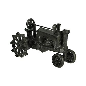 Distressed Dark Brown Wrought Iron Vintage Farm Tractor Statue