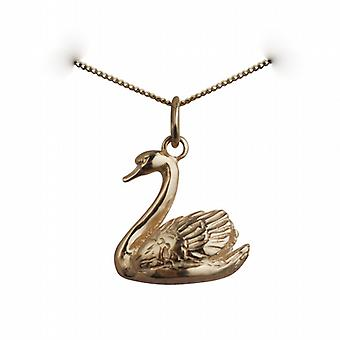 9ct Gold 14x16mm solid Swimming Swan Pendant with a curb Chain 20 inches