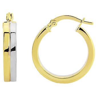 Mark Milton Flat Hoop Earrings - Yellow Gold/Silver