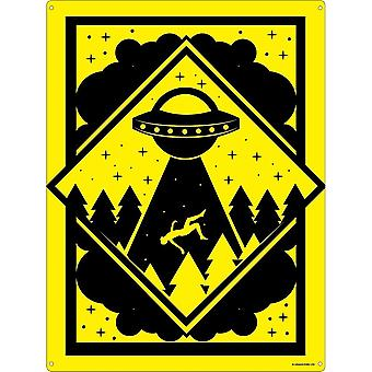 Grindstore Warning Alien Abduction Zone Tin Sign