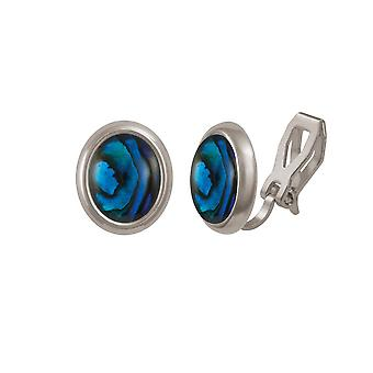 Eternal Collection Minuet Blue Paua Shell Silver Tone Stud Clip On Earrings