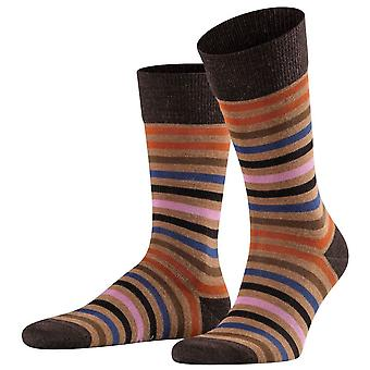 Falke Tinted Stripe Socks - Canvas Brown/Orange