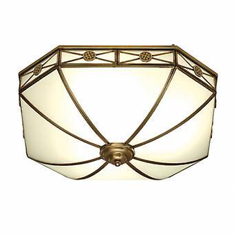 4 lumière plafonnier Flush Light antique en laiton, verre dépoli