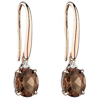 Boucles d'oreilles Elements Gold Oval Smokey Quartz - Brown/Rose Gold