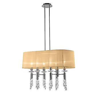 Mantra M3853 Tiffany Pendant 6+6 Light E27+G9 Oval, Polished Chrome With Soft Bronze Shade & Clear Crystal