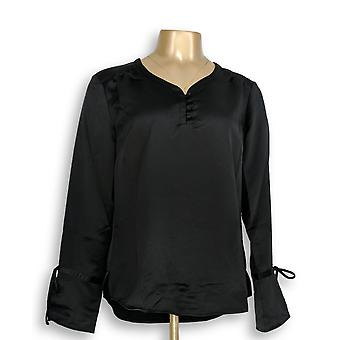 Isaac Mizrahi Live! Women's Top Tall Cuff Blouse with Black A295874