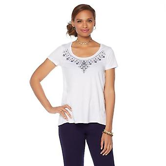 Daisy Fuentes Top Short Sleeve Embroidered Scoop Neck White 543-896