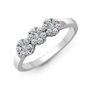 Jewelco London Solid 18ct White Gold Claw Set Round G SI1 1ct Diamond Trilogy Daisy Cluster Ring 6.5mm