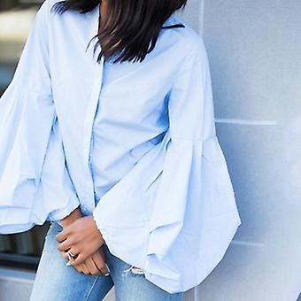 Blusa de manga abullonada v cuello