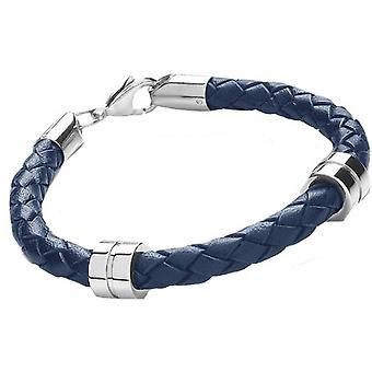 Tribal Steel 6mm 2 Band Plaited Bracelet - Blue