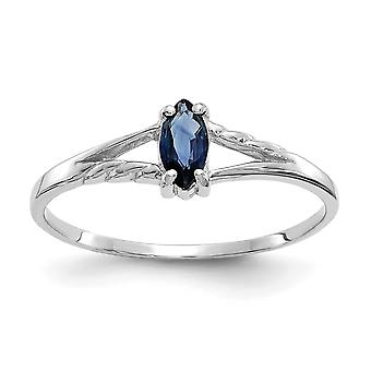 10k White Gold Polished Marquise Prong set Sapphire Ring Size 6 Jewelry Gifts for Women