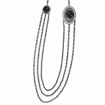 Silver tone Black Flowers and Clear Crystal Layered 36inch Necklace Jewelry Gifts for Women