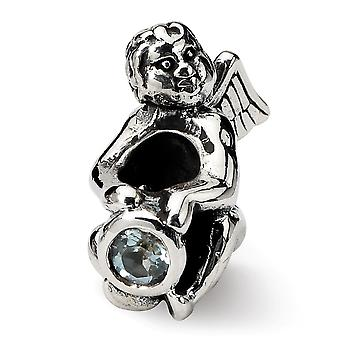 925 Sterling Silver Polished finish Reflections March CZ Cubic Zirconia Simulated Diamond Bead Charm Pendant Necklace Je
