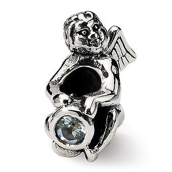 925 Sterling Sølv poleret finish Reflections marts CZ Cubic Zirconia Simuleret Diamond Perle Charm Vedhæng halskæde Je