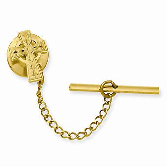14k Gold Plated Solid Gift Boxed Florentine Sparkle Cut Irish Claddagh Celtic Trinity Knot Religious Faith Cross Tie Tac