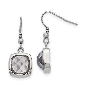 Edelstahl poliert Quadrat Glas Schäferhaken Ohrringe Schmuck Geschenke für Frauen