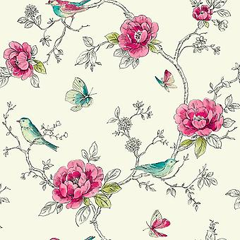 Red Teal Floral Wallpaper Cream Metallic Shimmer Birds Butterfly Arthouse Opera