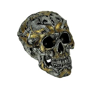 Silver and Gold Resin Gothic Tribal Skull Statue