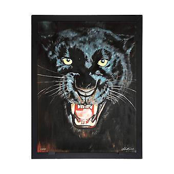 Glass vision-painting-Art glass-Black Panther Designer Astrid Gate