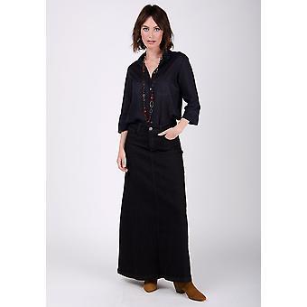 Womens long denim skirt - black