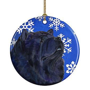 Chow Chow invierno los copos de nieve vacaciones Navidad adorno cerámica SS4639