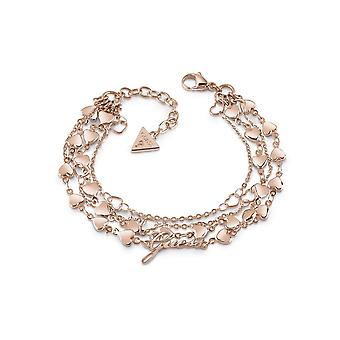 Guess Jewellery Guess Rose Gold Plated Row Multi Heart Chain Bracelet UBB28005-L