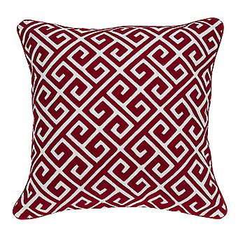 """20"""" x 0.5"""" x 20"""" Cubierta de almohada de acento rojo y blanco de transición"""