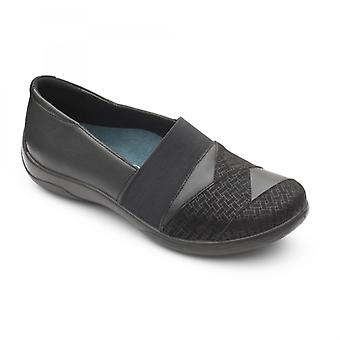Padders Violin Ladies Leather Extra Wide (2e/3e) Shoes Black