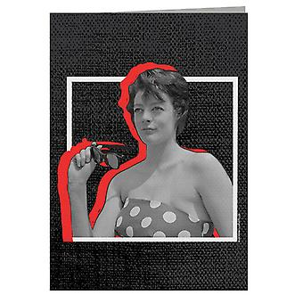 TV Times Maggie Smith Retro Frame Greeting Card