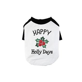 Feliz Holly Días Cool BKWT Mascotas Camiseta de Béisbol Regalo de vacaciones