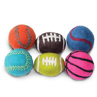 "Dharma Dog Karma Cat Pack of 6 1.5"" Sport Balls Toy For Cats & Small Dogs"