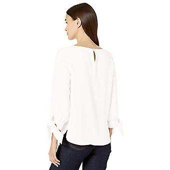 Nine West Women's Jewel Neck Crepe Blouse with 3/4 Bow, Lily, Size X-Small