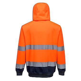 Portwest - Zwei-Ton Hi-Vis Sicherheit Workwear Zip Front Hoodie