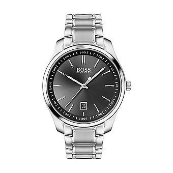Hugo Boss horloge 1513730-circuit Case staal zwarte wijzerplaat zilver stalen armband mannen