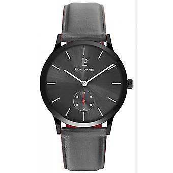 Pierre Lannier Watch 222F389 - STYLE Bo tier Steel Black Leather Bracelet Grey Cadran Soleill Men