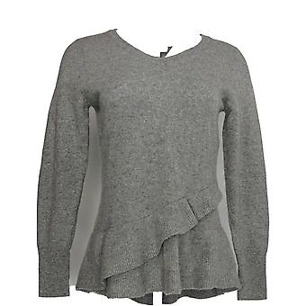 Isaac Mizrahi Live! Women's Sweater 2-Ply Cashmere Ruffle Gray A343270