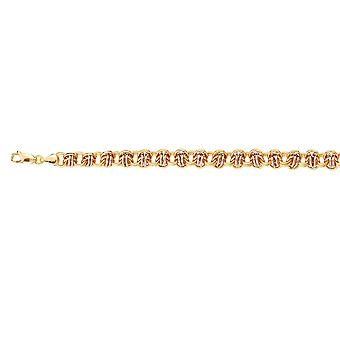 925 Sterling Silver Yellow and Rhodium Plated Two tone Hollow Fancy Bracelet 7.75 Inch Jewelry Gifts for Women